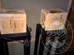 Immagine di LAMPADA IN LEGNO SCURO E PARA LUME IN PAPIRO DELL ALTEZZA DI CIRCA CM 100;